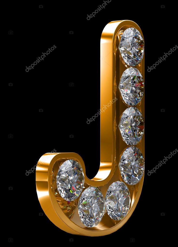 Golden J Letter Incrusted With Diamonds U2014 Stock Photo