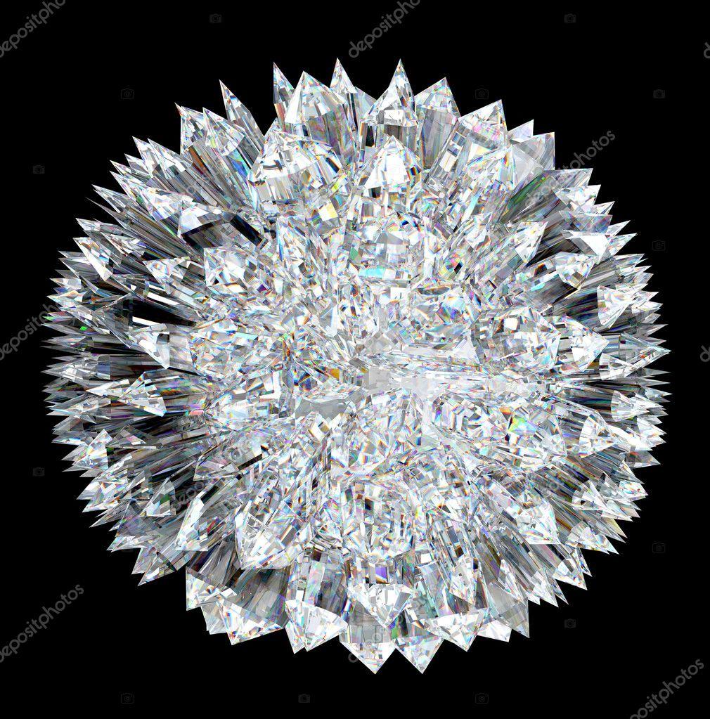 Diamond sphere with stalagmites