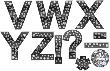 Diamond V-Z letters with punctuation marks