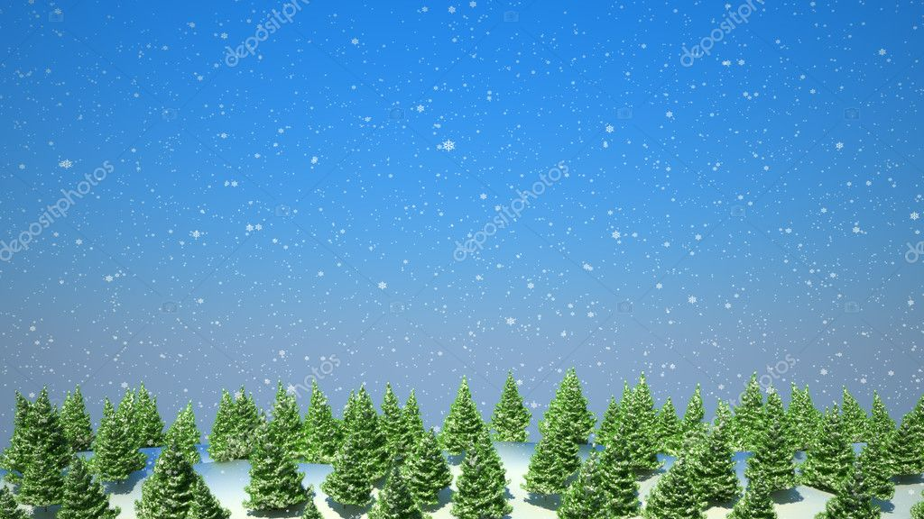 Firtree forest landscape during snowfall