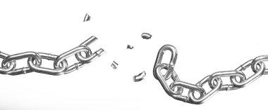 Broken chain on white background stock vector