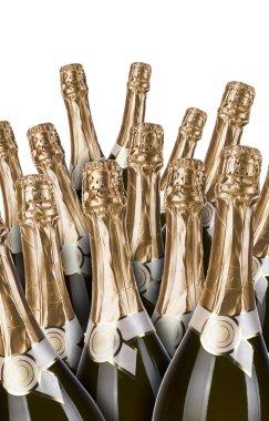 Lot of champagne bottles