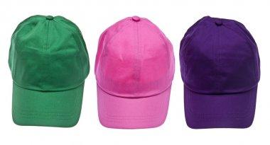Trio of Colorful Baseball Caps