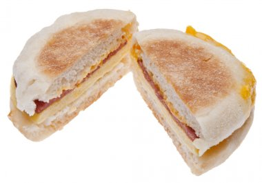Sliced Bacon, Egg and Cheese Breakfast Sandwich