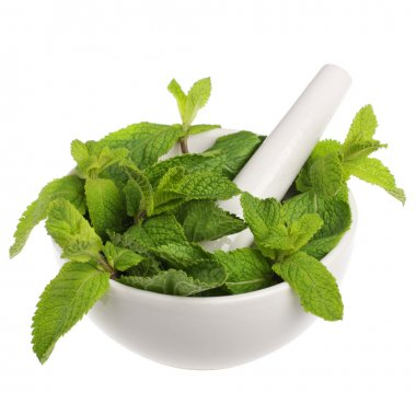 Mortar with mint