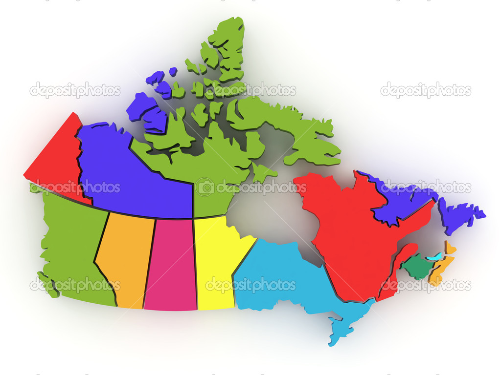 Map Of Canada 3d.Three Dimensional Map Of Canada 3d Stock Photo