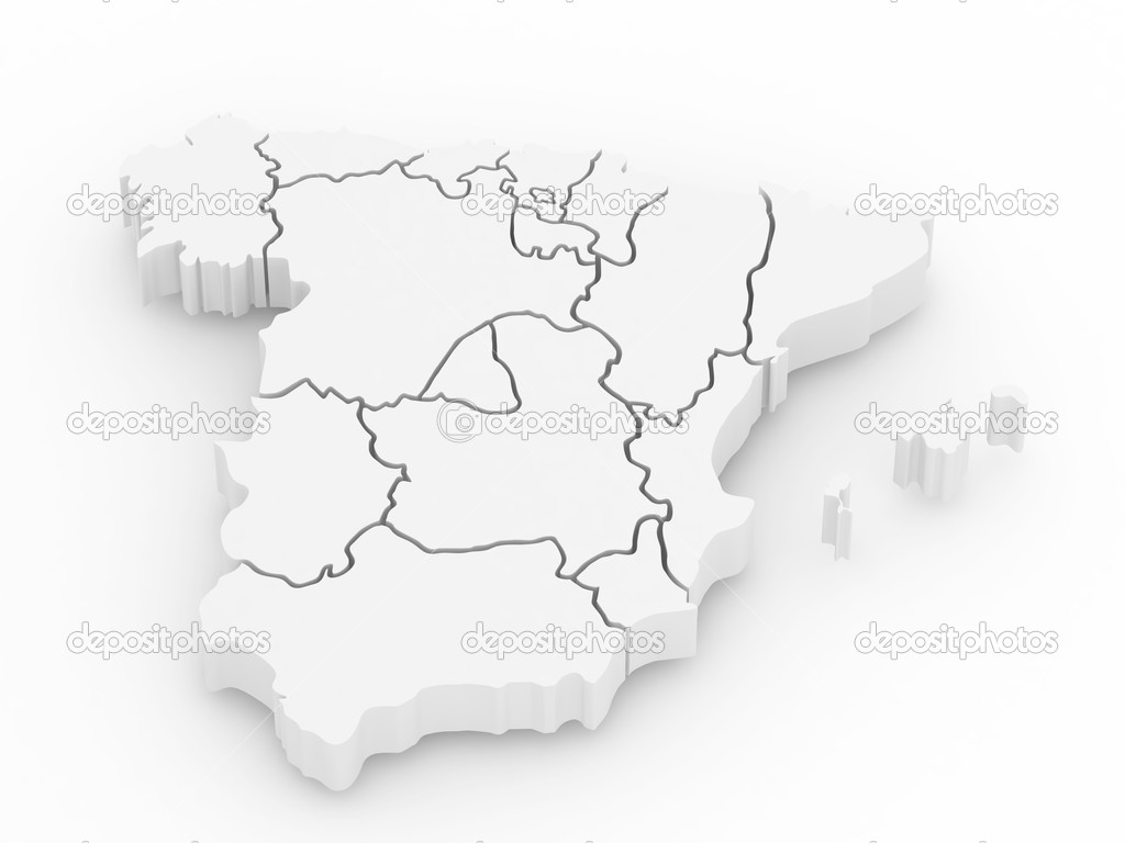 3d Map Of Spain.Three Dimensional Map Of Spain 3d Stock Photo C Maxxyustas 4509261
