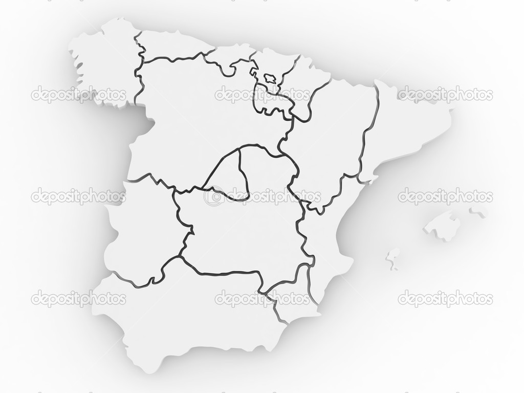 3d Map Of Spain.Three Dimensional Map Of Spain 3d Stock Photo C Maxxyustas 4613210