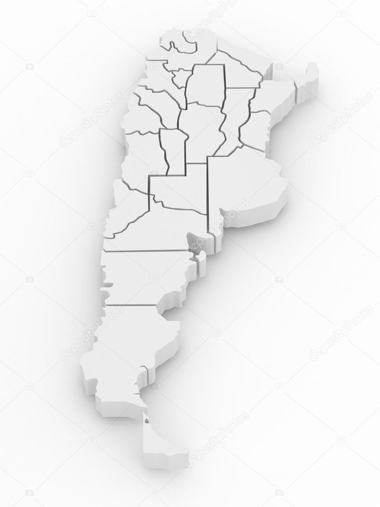 Threedimensional Map Of Argentina D Stock Photo Maxxyustas - Argentina map download
