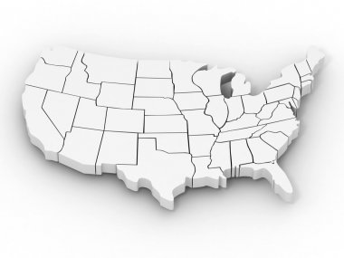 Map of USA. 3d stock vector