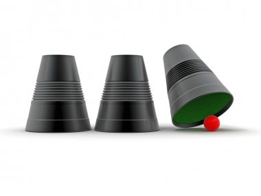 Right choice. Three plastic cup with sphere. Game. 3d