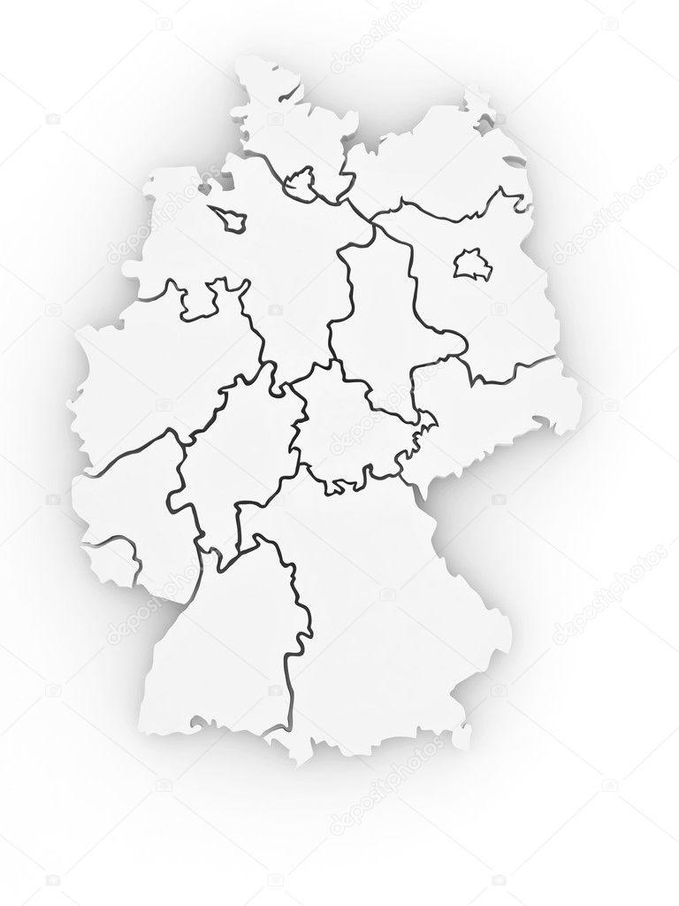 3d deutschlandkarte Three dimensional map of Germany. 3d — Stock Photo © maxxyustas