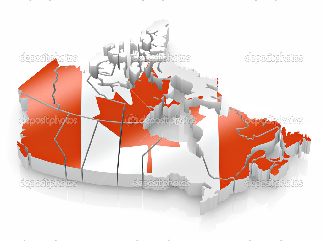 Map Of Canada In Canadian Flag Colors Stock Photo Maxxyustas - Canada map with flag