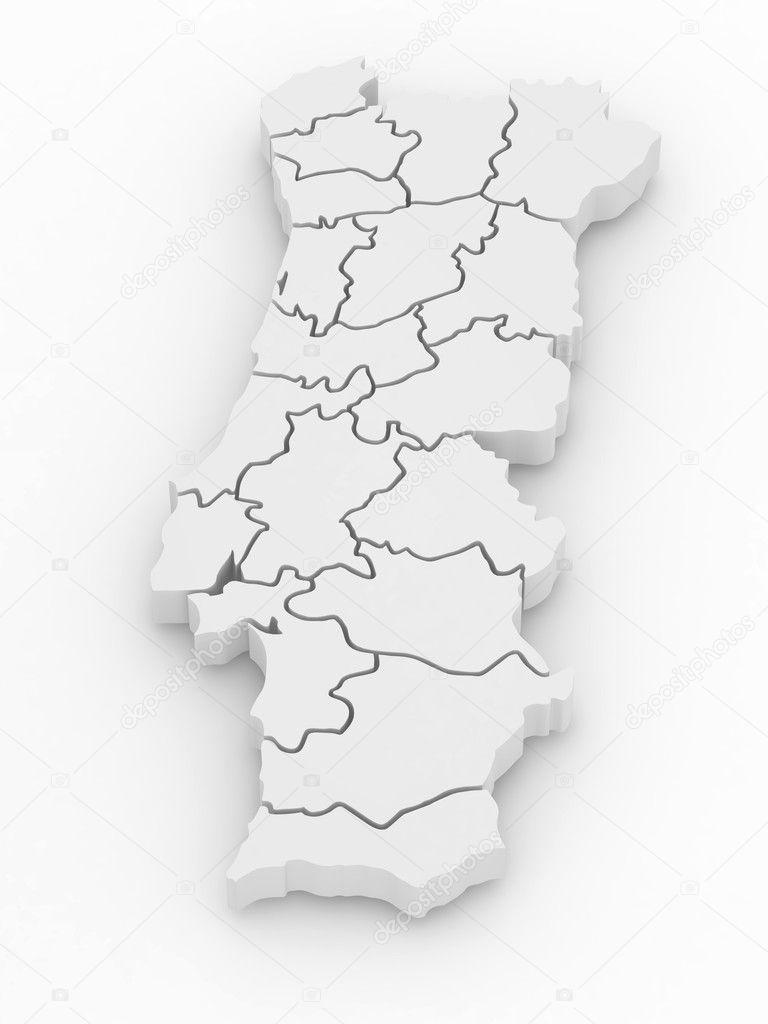 Three Dimensional Map Of Portugal 3d Stock Photo C Maxxyustas