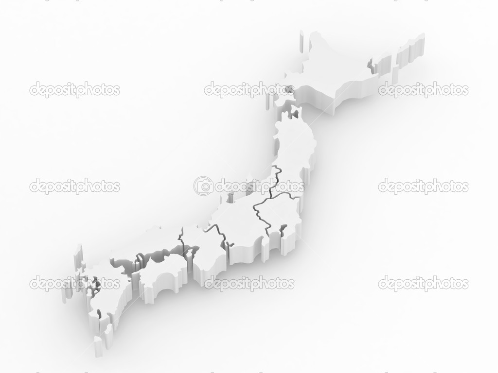 Map Of Japan On White Isolated Background D Stock Photo - Japan map 3d