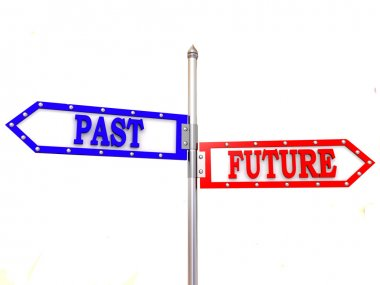 Blank arrows directions. Future and past. 3d