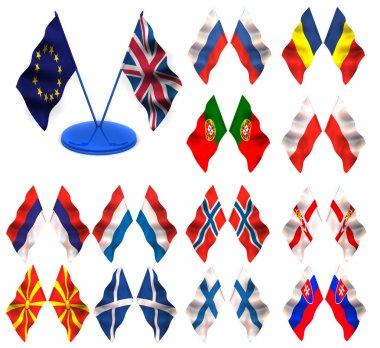 Flags. Sweden, Spain, Yugoslavia, Slovenia, Germany, Ukraine, W