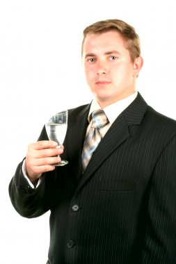 Man with glass. congratulation