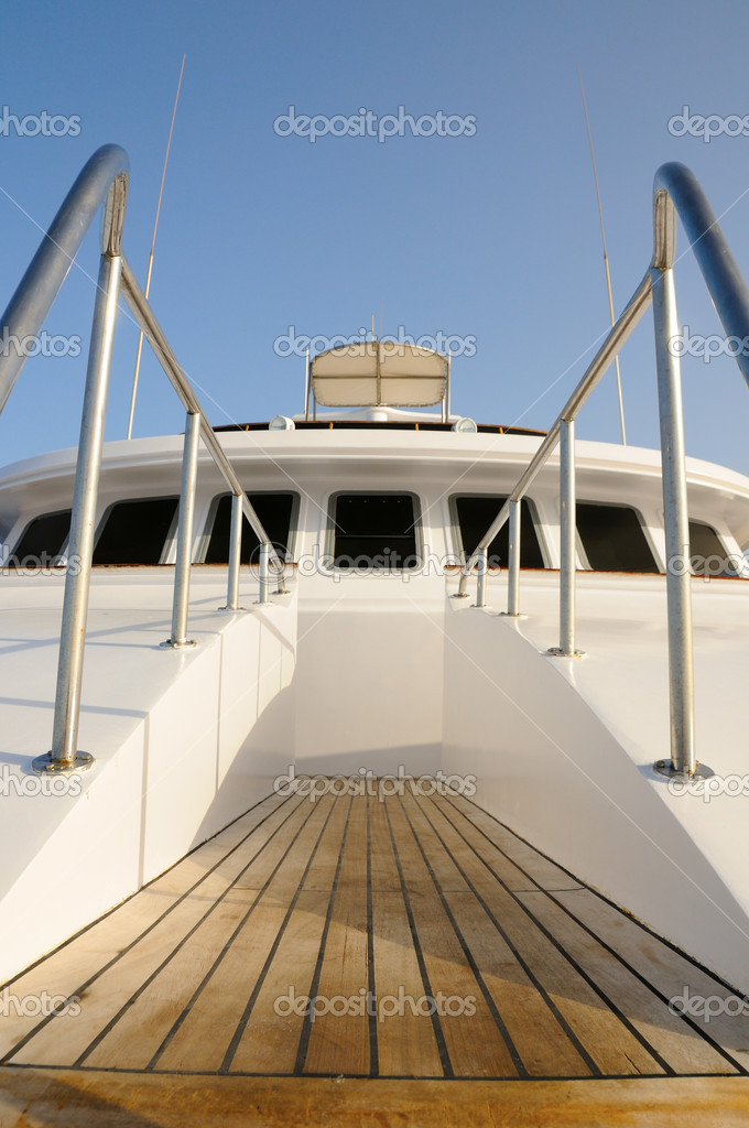 Deck of yacht