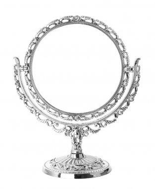 """Картина, постер, плакат, фотообои """"антикварное серебряное зеркало на белом фоне зеркало раме зеркала напольное прямоугольные диваны"""", артикул 3646104"""