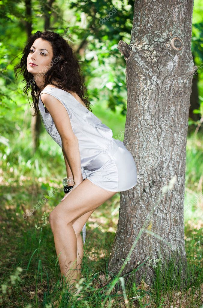 Sultry Young Tender Woman Posing White Dress Floral Wreath Forest Pics 1