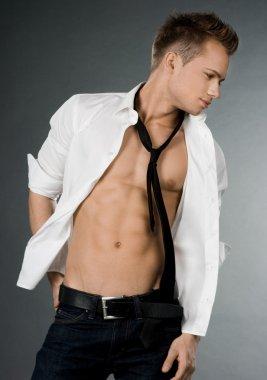 Attractive businessman in white shirt