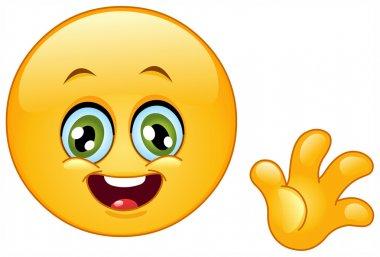 Cute emoticon waving hello stock vector