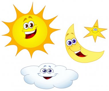 Sun moon star and cloud set clip art vector