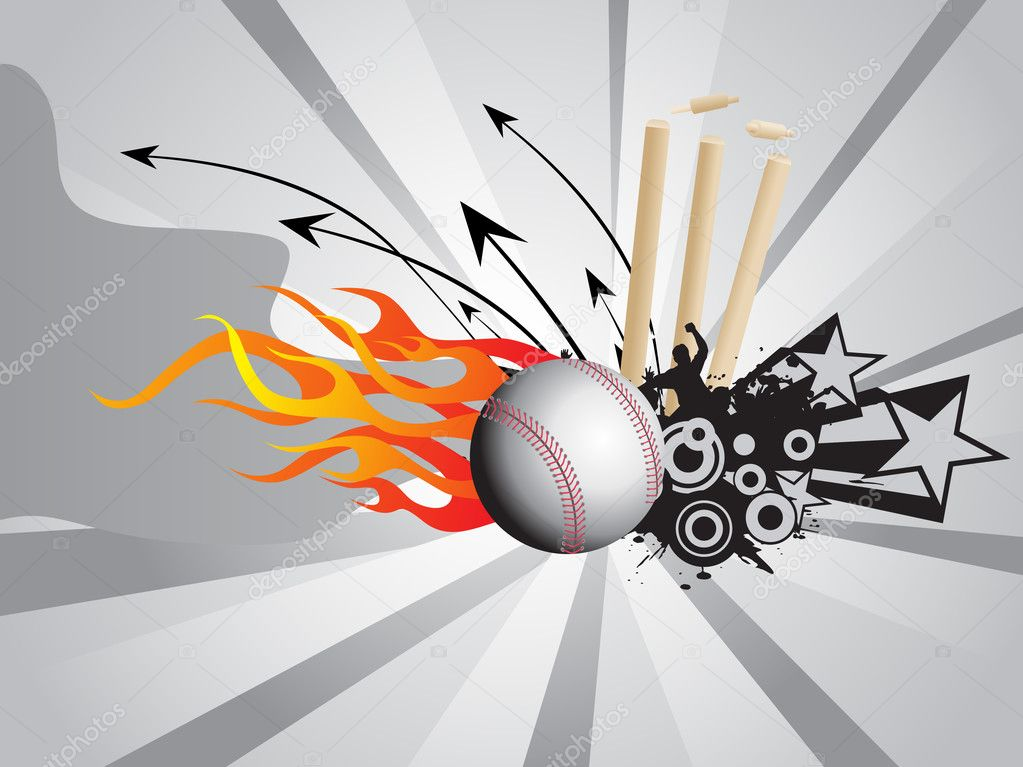 Cricket Vector Background Stock Image: Fire Background With Cricket Ball