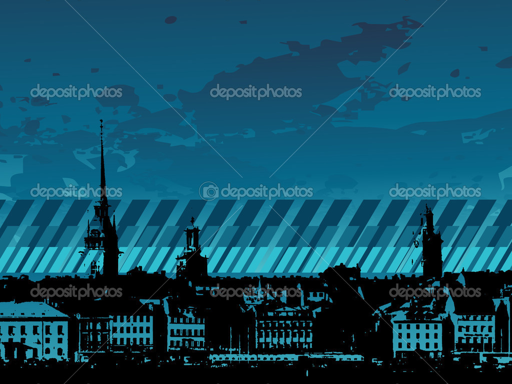 Grunge City Background Wallpaper Stock Vector