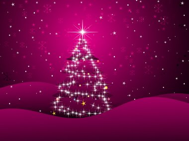 Magenta background with xmas tree