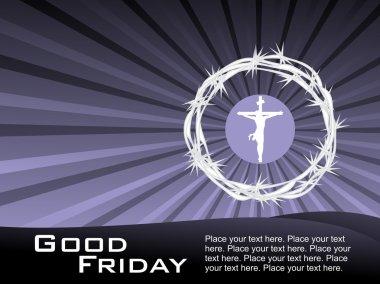 Jesus on cross in crown of throns
