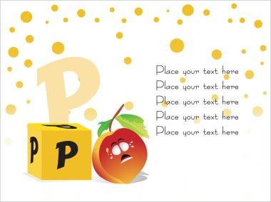Kid education vector, P for Pomegranat