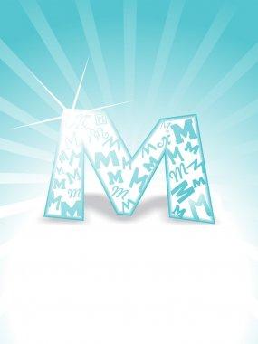 Background with stylish alphabet m