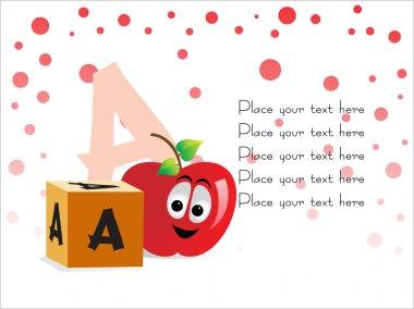 Kid education vector, A for Apple