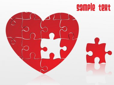 Jigsaw puzzle heart, vector