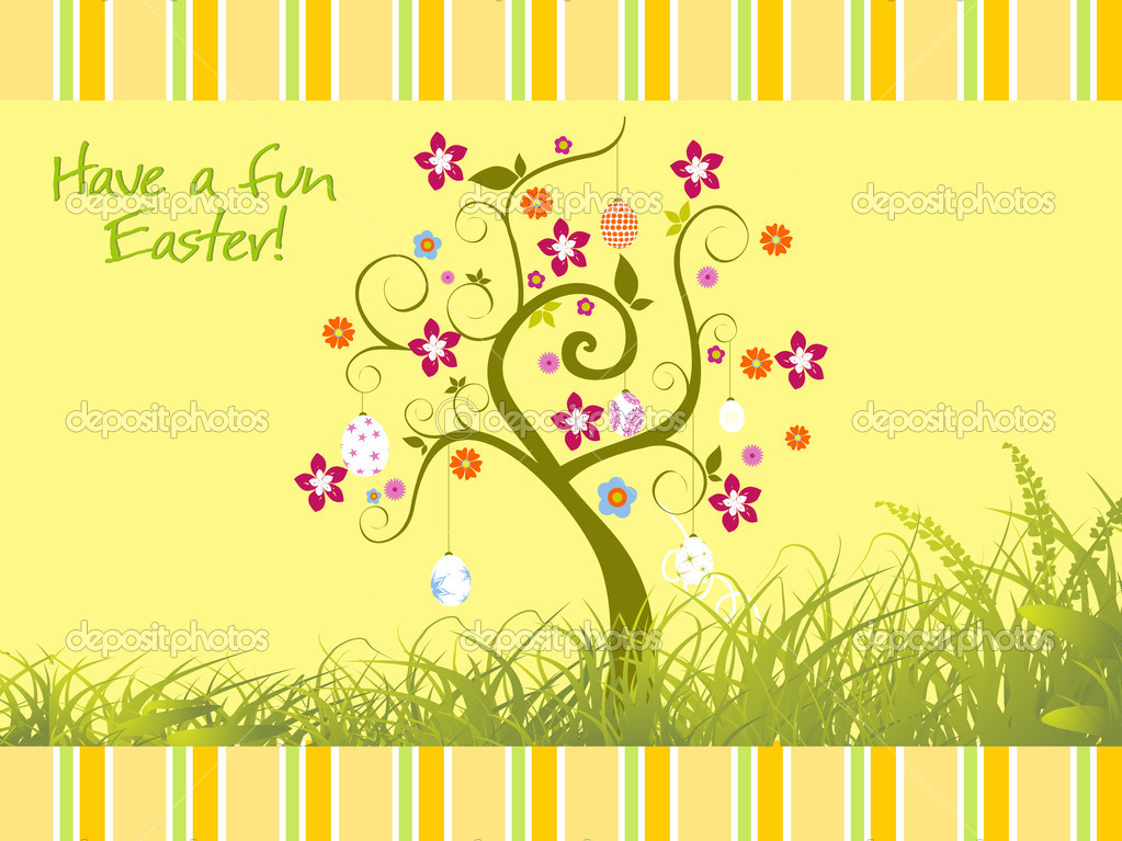 Garden background with bloom tree