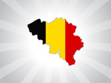 Map of Belgium with their flag