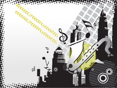 Musical city background, illustration