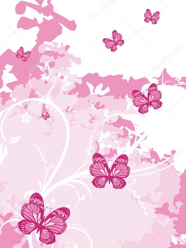 Illustrazione Farfalla Rosa Sfondo Artistico Rosa Con Farfalla