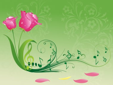 Musical notes with rose bloom