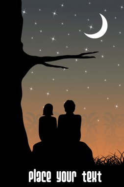 Abstract sunset background with couple sitting in garden clip art vector