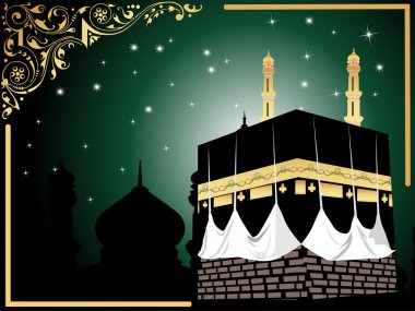 Background with kaaba illustration