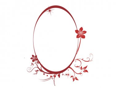 Red oval floral frame backgound