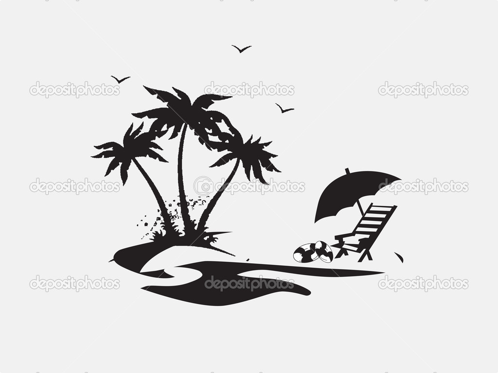 Beach lounge chair drawing - Silhouette Palm Trees With Lounge Chairs On The Beach Vector Illustration Vector By Alliesinteract