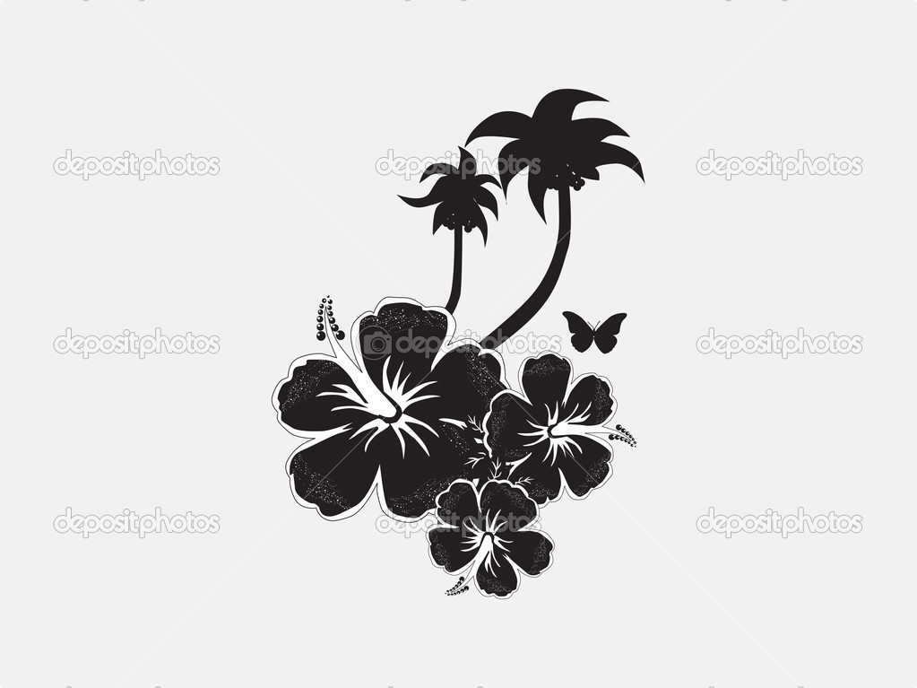 Hibiscus flower with butterfly and tree