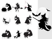 Kolekce čarodějnice silueta s pozadím