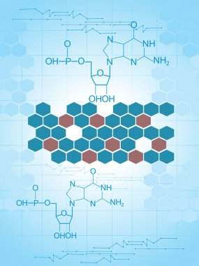 Honeycomb background with chemical formula
