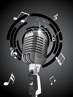 Background with musical notes, microphone