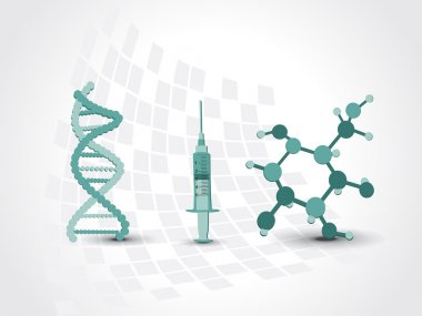 background with dna, atomic strcture and syringe